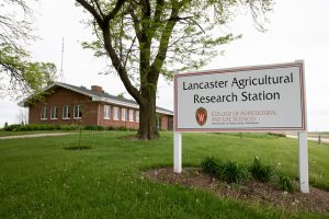 Lancaster Research Station sign next to brick building